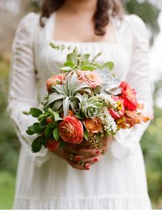 poppies & posies succulent and air plant wedding bouquet