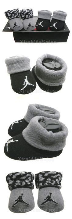 Michael Jordan Baby Clothing: Jumpman Newborn Infant Booties Michael Jordan 23 Black Grey 0 - 6 Months BUY IT NOW ONLY: $14.95