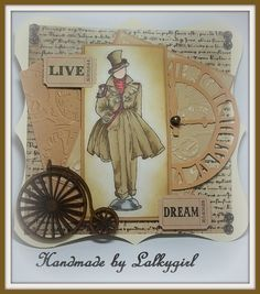 a steampunk card made using a kanban stamp,promarkers TH distress inks ,hitch fasteners,snaps and tickets .A clock sizzix die and  clocks embossing folders,The gorgeous penny farthing is from crafty emblies