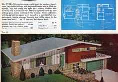 Garlinghouse No. Ranch Exterior, Interior And Exterior, Split Level Exterior, 1950s House, Retro Room, Large Baths, Modern Ranch, House Illustration, Ranch Style Homes