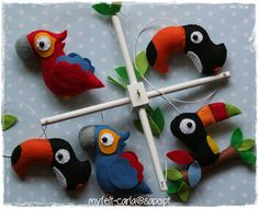 Felt tropical birds - mobile