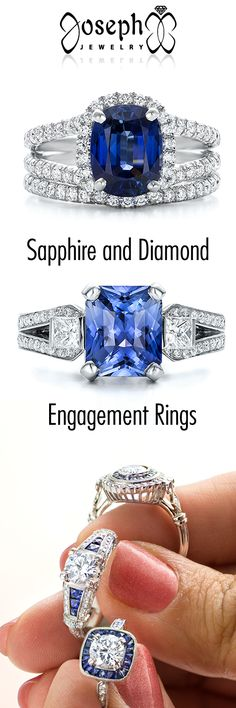 Sapphire and Diamond Custom Engagement Ring that will blow your mind www.josephjewelry.com #Diamonds #BlueSapphire #Sapphire #EngagementRings #Love