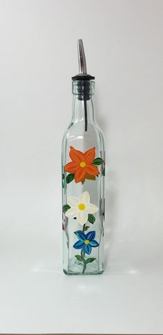 TableCraft Glass Olive Oil or Soap Bottle with Hand Painted Daisies