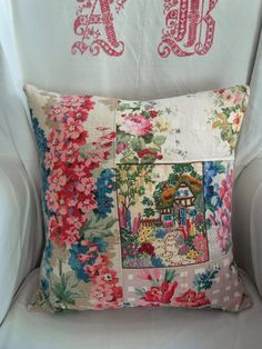 Cottage pillow made with vintage textiles @Craftsy