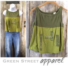 Funky Green Tank Top | Olive Green Tank | Boho Top | Festival Wear | Patchwork Tank Top | Upcycled Clothing | Artsy Tank | Crop Tank | Green by GreenStreetApparel on Etsy https://www.etsy.com/listing/537876600/funky-green-tank-top-olive-green-tank