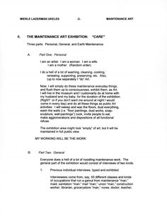 "Mierle Laderman Ukeles, ""MANIFESTO FOR MAINTENANCE ART, 1969!,"" 1969."