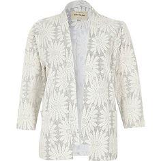 Kimono jacquard à fleurs pailleté blanc - capes / kimonos - manteaux / vestes - femme