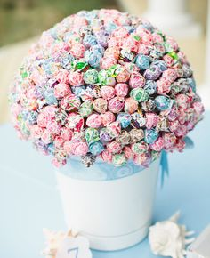 Bring Out Your Inner Kid - Wedding Ideas: A Dum Dum Lollipop Centerpiece, great on a dessert table :)