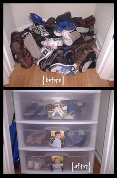 House Organization Ideas How To Turn a Small Closet into a Mini-Mudroom. I love the kid photos on the fronts of each drawer!How To Turn a Small Closet into a Mini-Mudroom. I love the kid photos on the fronts of each drawer! Back To School Organization, Organization Hacks, Toy Closet Organization, Organizing School, Kids Bedroom Organization, Shoes Organizer, Kitchen Organization, Kid Closet, Front Closet