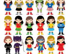18 niños superhéroes trajes Imágenes Prediseñadas imágenes