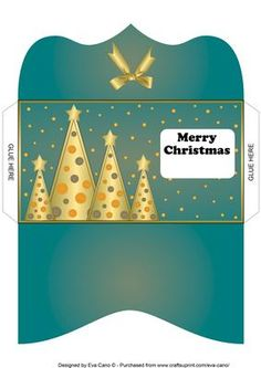 Buttons Christmas Trees Money Wallet light blue on Craftsuprint - Add To Basket!
