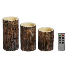 Tree Bark Battery Operated LED 3 Piece Flameless Pillar Candle Set