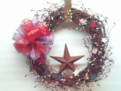 Patriotic Wreath / Forth of July Wreath    / by imaproudcrafter, $48.00