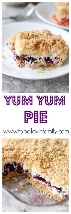 Yum Yum Pie | Yum Yum Pie is a delicious no bake dessert. It was one of my Nana's recipes that is still one of my favorites.http://www.foodlovinfamily.com/yum-yum-pie/