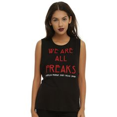 American Horror Story Freak Show We Are All Freaks Striped Girls... (€22) ❤ liked on Polyvore featuring tops