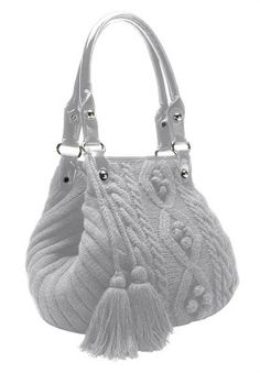 Woman Within Cable knit sweater handbag with tassels.