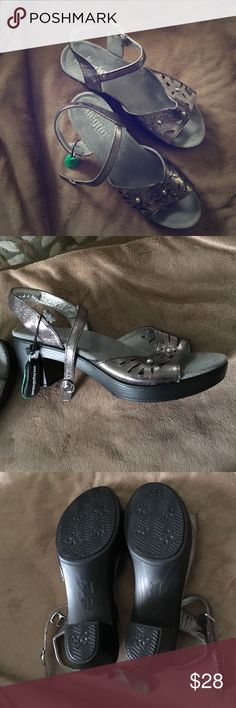 Allegria Heels New, never worn Algeria by PG Lite 2 inch heels in beautiful pewter/silver colors. Adjustable strap that actually hooks into clasp but looks like a regular buckle. Easy to put on. Alegria by PG Lite Shoes Heels