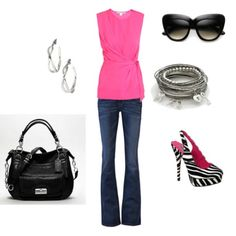 HOT pink! Black and Zebra! I never would've thought to wear zebra print shoes with this, cool.