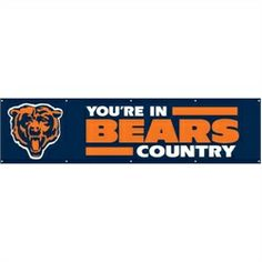 NFL Football tailgating flag. This 8' long Chicago Bears tailgate banner flag . Our giant 8-foot applique and embroidered banner can be used indoors or outdoors. Perfect for the bedroom, game room, of