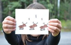 Moose Greeting Card, Fingerprinted Card, Hand Drawn Card, Animal Card, Hand Print Art, Thank You Cards by WilderWatchers on Etsy https://www.etsy.com/listing/201128950/moose-greeting-card-fingerprinted-card