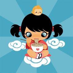 charuca, cute japanese, girl, illustration, kawaii, noodles