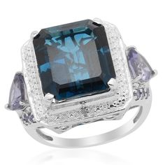 Liquidation Channel: London Blue Topaz, Iolite, and Diamond Ring in Platinum Overlay Sterling Silver (Nickel Free)