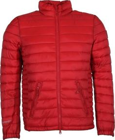 Mens Jacket Crosshatch Shepperton Bubble Quilted Padded Down Bomber Coat red #Crosshatch #BomberHarrington