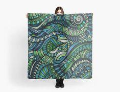 Street-art pattern blue/green scarf/wrap Foulard noir Pattern Art, Scarf Wrap, Blue Green, Street Art, Vintage, Etsy, Unique Jewelry, Duck Egg Blue, Vintage Comics