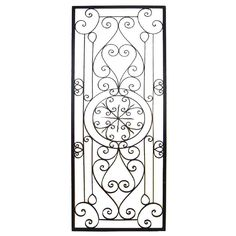 This Tuscan Large Rectangular Wrought Iron Wall Grille Plaque is crafted from wrought iron and finished in a rich brown and features scrolling detail. Wrought Iron Wall Decor, Wrought Iron Gates, Garage Door Decorative Hardware, Iron Doors, Wooden Doors, Wall Sculptures, Wall Plaques, Wall Art Decor, Pergola Plans