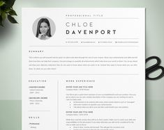 CV Template Resume, Professional Resume, Instant Download, Resume Template With Photo, Teacher Resume, Word Pages Resume, Cover Letter, CV