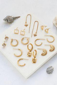 S/S Collection Jewelry by Shlomit Ofir Santorini Sunset, Jewelry Collection, Bracelets, Gold, Stud Earrings, Bangle Bracelets, Bracelet, Bangle, Arm Bracelets