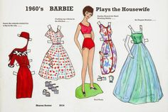 1960s BARBIE Plays the Housewife  1 of 2 Sharon's OPDAG (Original Paper Doll Artist's Guild) submissions.  This is from issue #109.  Theme: 'The Housewife' Sharon chose Barbie from the 1960s to represent the perfect housewife with dresses based on some of the vintage outfits she remembered from childhood.
