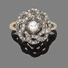 A 19th century diamond cluster ring.