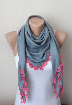 gray scarf pink scarf cotton scarf turkish yemeni oya scarf