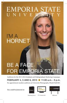 EVERY Emporia State student is welcome to audition! (Undergraduate and Graduate students) Auditions held February 4th, 5th, and 6th 2014 from 11:00 am- 5:00 pm in Photography, Plumb Hall 005 (basement of Plumb Hall)