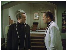 THE SCHIZOID MAN: Number Six (Patrick McGoohan) and Curtis (Patrick McGoohan).