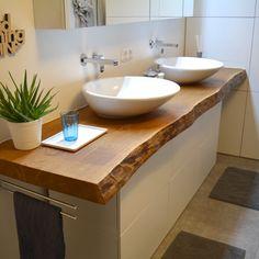 Solid wood vanity - the highlight in your bathroom .- Waschtisch aus Massivholz – das Highlight in Ihrem Badezimmer – Holzwunder Solid wood vanity – the highlight in your bathroom – a wood wonder - Diy Bathroom Vanity, Wood Bathroom, Bathroom Interior, Wood Slat Wall, Wood Slats, Wc Design, Wood Vanity, Solid Wood, Sink