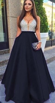 Charming A Line Black Satin Beaded V-Neck Long Prom Dresses Custom Made Women Party Gowns ,Formal Ev on Luulla