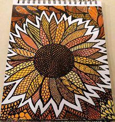 ColorIt Colorful Flowers Volume 1 Colorist: Jamie Snider #adultcoloring #coloringforadults #adultcoloringpages #flowers Doodle Art Drawing, Zentangle Drawings, Cool Art Drawings, Mandala Drawing, Painting & Drawing, Zentangles, Sharpie Drawings, Sharpie Art, Sharpie Doodles