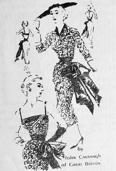 1950s  JOHN CAVANAGH ULTRA CHIC SLIM COCKTAIL DINNER PARTY DRESS PATTERN UNIQUE DESIGN FEATURES DRAPED BODICE, SIDE LG BOW FITTED JACKET TOTALLY STUNNING STYLE SPADEA INTERNATIONAL DESIGNERS 206 Bust 35