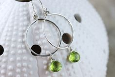 Hand Formed Green Peridot and Argentium Sterling Silver Simple Circle Loop Earrings - Ella, by PrincessTingTing on Etsy, $29.00
