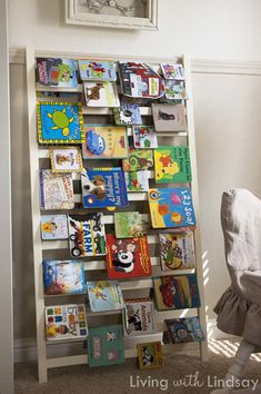 Use a Crib Rail as a Book Shelf via LivingWithLindsay.com