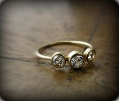 Diamond ring  recycled 18K gold ring with 3 bezel by junedesigns