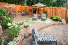 Landscaping Pools and Spas, Happy Valley, Oregon Outdoor Cafe, Outdoor Spaces, Outdoor Living, Outdoor Decor, Oregon Landscape, Yard Party, Backyard Lighting, The Great Outdoors, Exterior Design