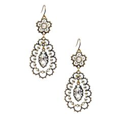 Pearl + Crystal Floral Filigree Earrings  Shop the new bridal collection  www.humblefashionista.com