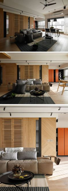 Upon entering this modern apartment, an open shelf room divider creates a mini reception area with built-in storage for shoes and coats. Home Living Room, Living Area, Living Spaces, Family Apartment, Apartment Interior, Modular Housing, Modern Interior, Interior Design, Find Furniture