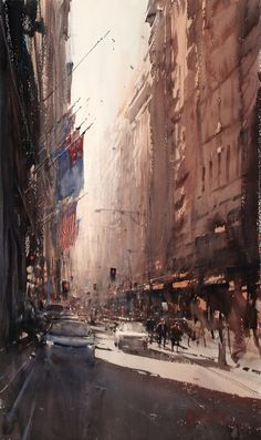 Flags and Awnings - Watercolor by Joseph Zbukvic - New-York