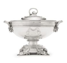 A George IV silver soup tureen and cover, John Bridge for Rundell, Bridge & Rundell, London, 1823 | Lot | Sotheby's