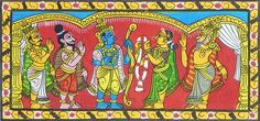 Wedding of Rama and Sita - Folk Art Paintings (Cheriyal Paintings on Canvas - Unframed)