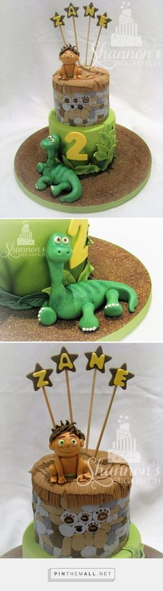 """""""Good Dinosaur"""" 2-tier, fondant covered, cake from the movie The Good Dinosaur. Top tier is modeled after the """"silo"""" in the movie. Includes Arlo and Spot sugar paste figurines. Top tier is carrot cake with cream cheese flavour buttercream and white chocolate ganache; bottom tier is confetti cake with chocolate truffle filling and dark chocolate ganache. Keywords: Disney. - created via https://pinthemall.net"""
